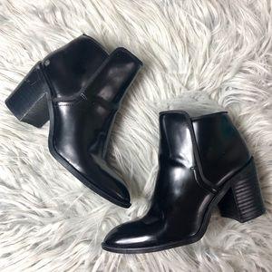 Zara Black Chunky Heeled Ankle Booties